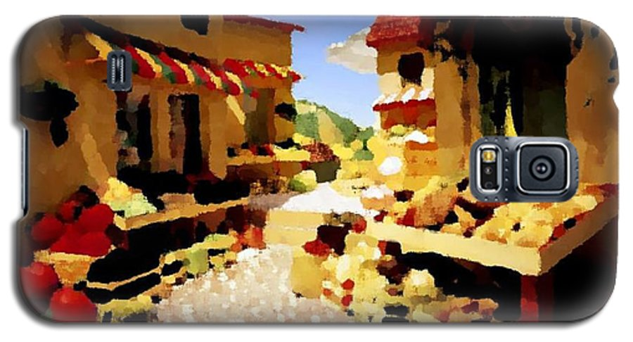 Market.town.street.road.houses.shadow.things For Sale.heat.rest.silence. Galaxy S5 Case featuring the digital art small urban market on Capri island by Dr Loifer Vladimir
