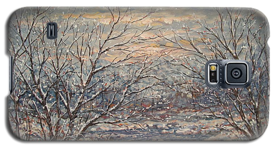 Landscape Galaxy S5 Case featuring the painting Snow By Brook. by Leonard Holland