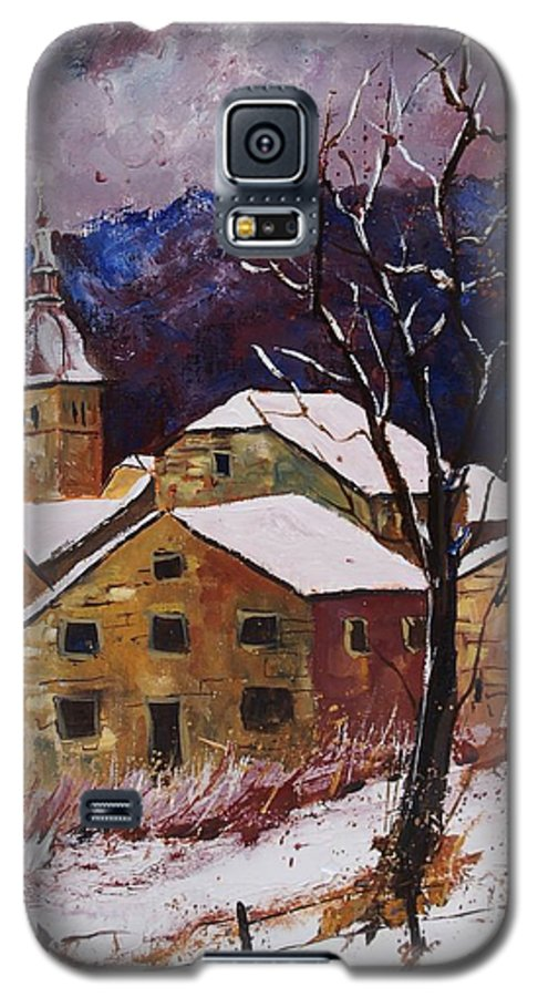 Landscape Galaxy S5 Case featuring the painting Snow In Chassepierre by Pol Ledent