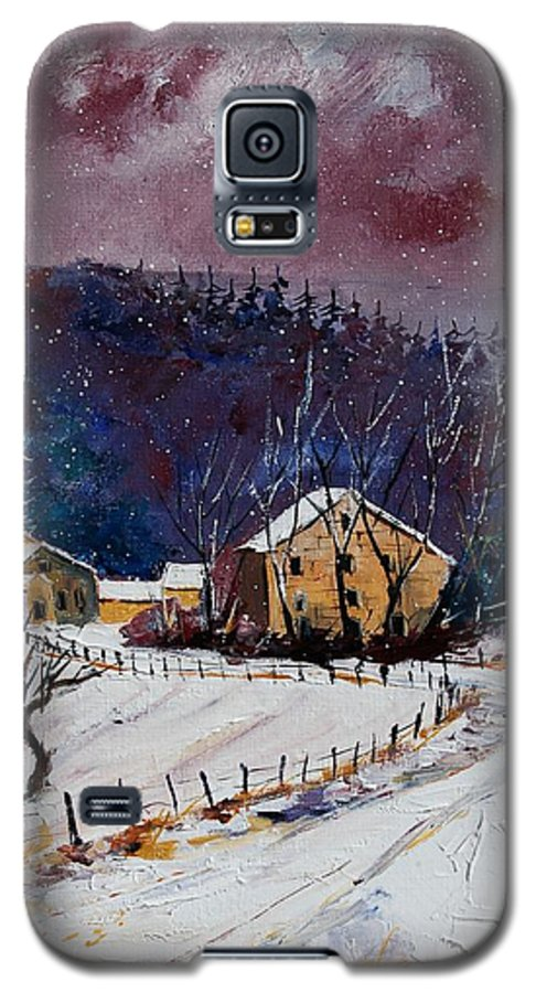 Landscape Galaxy S5 Case featuring the painting Snow In Sechery by Pol Ledent