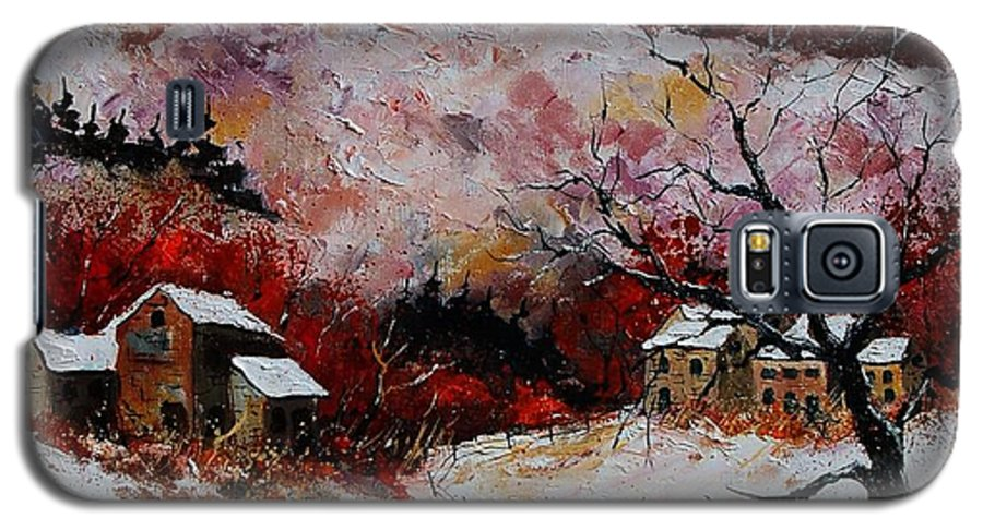 Snow Galaxy S5 Case featuring the painting Snow In The Ardennes 78 by Pol Ledent