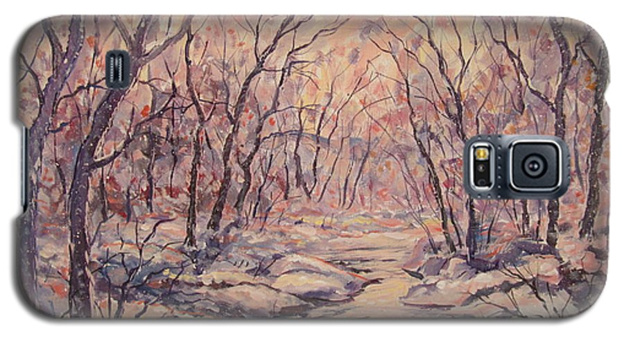 Landscape Galaxy S5 Case featuring the painting Snow In The Woods. by Leonard Holland
