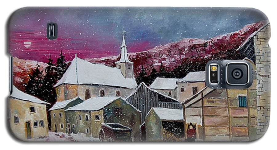 Snow Galaxy S5 Case featuring the painting Snow Is Falling by Pol Ledent