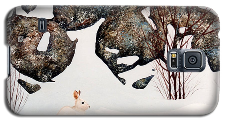 Wildlife Galaxy S5 Case featuring the painting Snow Ledges Rabbit by Frank Wilson