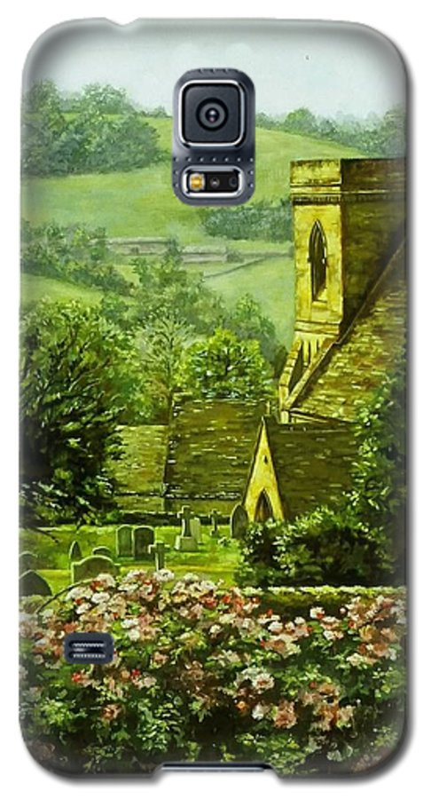 Landscape Church Galaxy S5 Case featuring the painting Snowshill by Ruth Stromswold