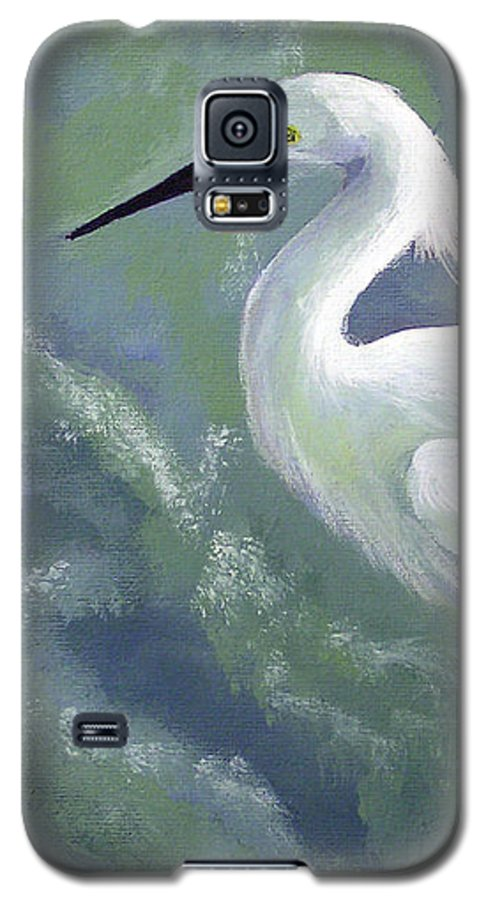 Egret Galaxy S5 Case featuring the painting Snowy Egret In Water by Adam Johnson