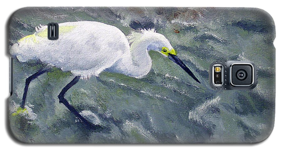Egret Galaxy S5 Case featuring the painting Snowy Egret Near Jetty Rock by Adam Johnson