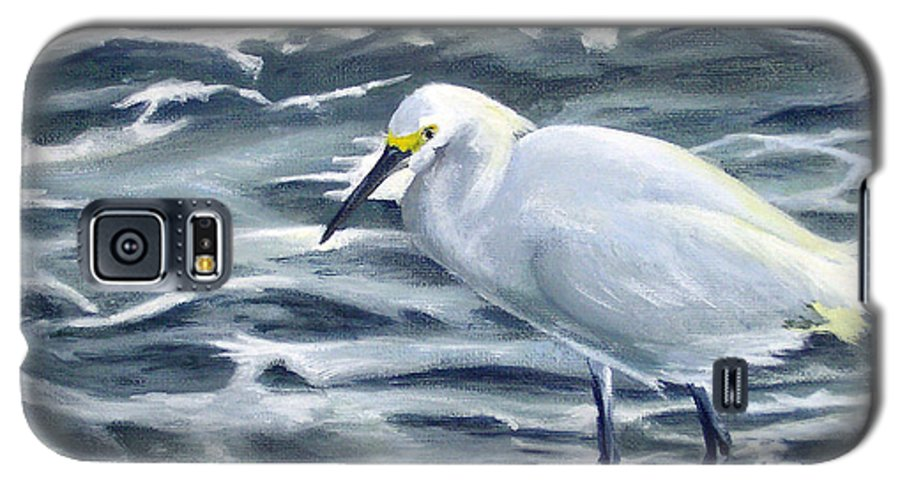 Egret Galaxy S5 Case featuring the painting Snowy Egret On Jetty Rock by Adam Johnson