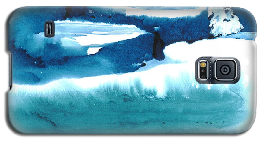 A Flock Of Snowy Egrets Standing In Snowy Country - A Watercolor Painting Galaxy S5 Case featuring the painting Snowy Egrets by Mui-Joo Wee