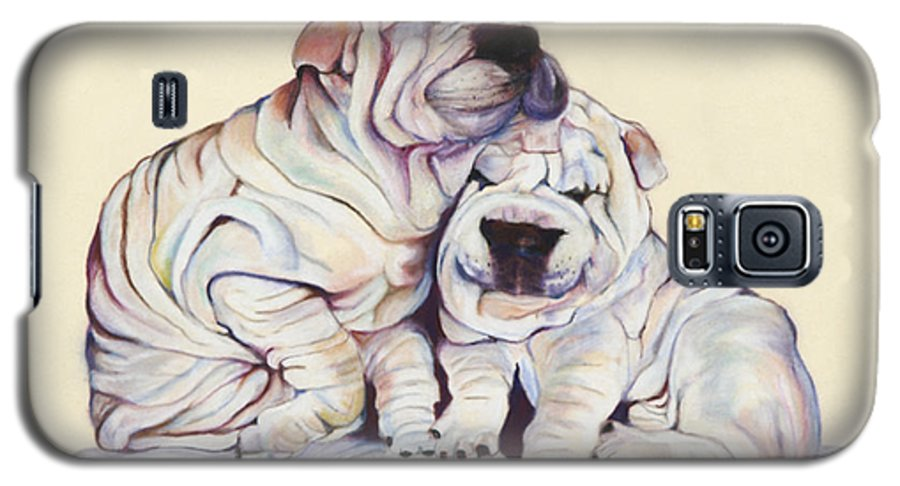 Dog Painting Galaxy S5 Case featuring the pastel Snuggles by Pat Saunders-White