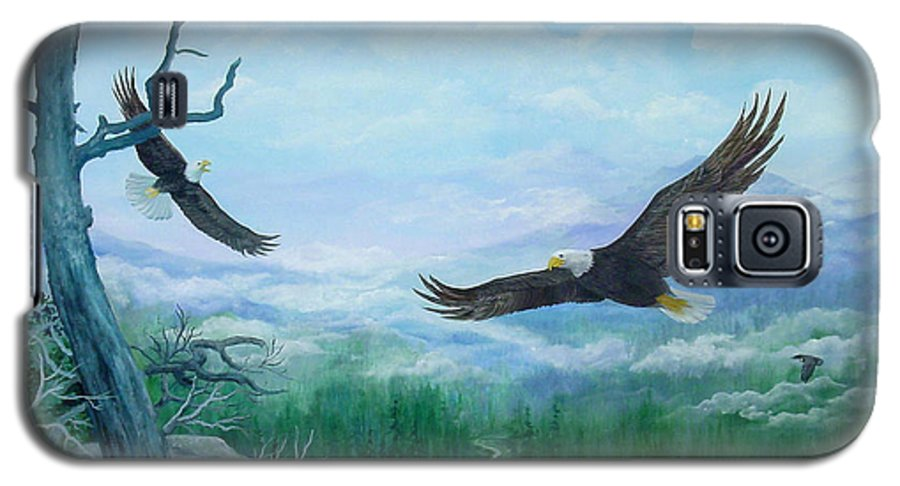 Eagles;birds;river Valley;mountains;sky; Galaxy S5 Case featuring the painting Soaring by Lois Mountz