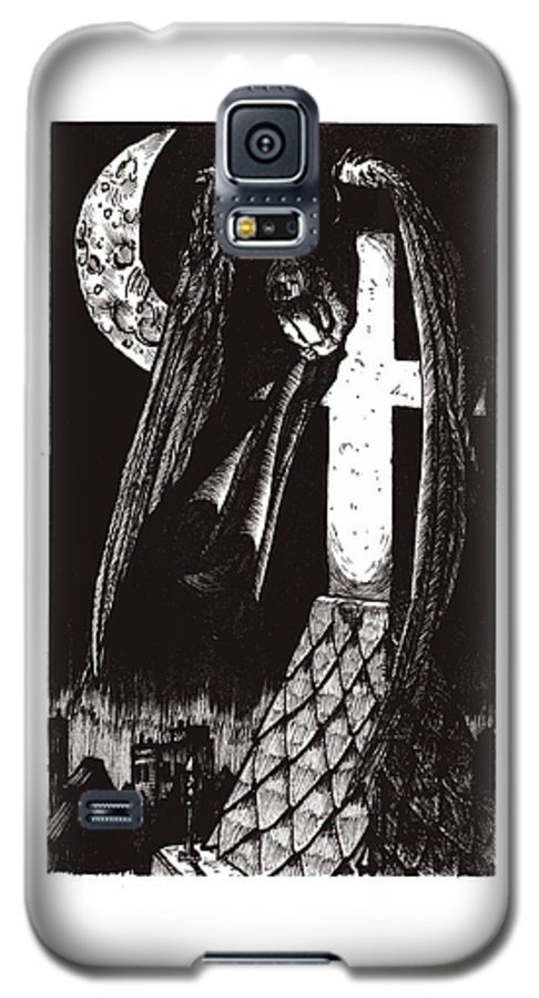 Angel Galaxy S5 Case featuring the drawing Solemn Vigil by Tobey Anderson