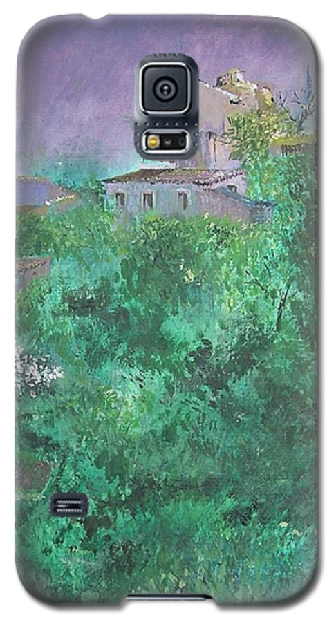 Impressionist Galaxy S5 Case featuring the painting Solitary Almond Tree In Blossom Mallorcan Valley by Lizzy Forrester