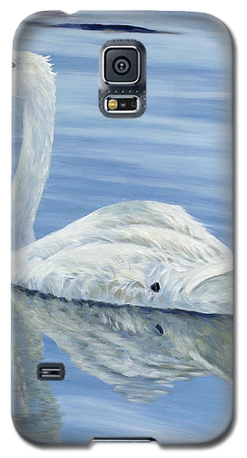 Swan Galaxy S5 Case featuring the painting Solitary Swan by Danielle Perry