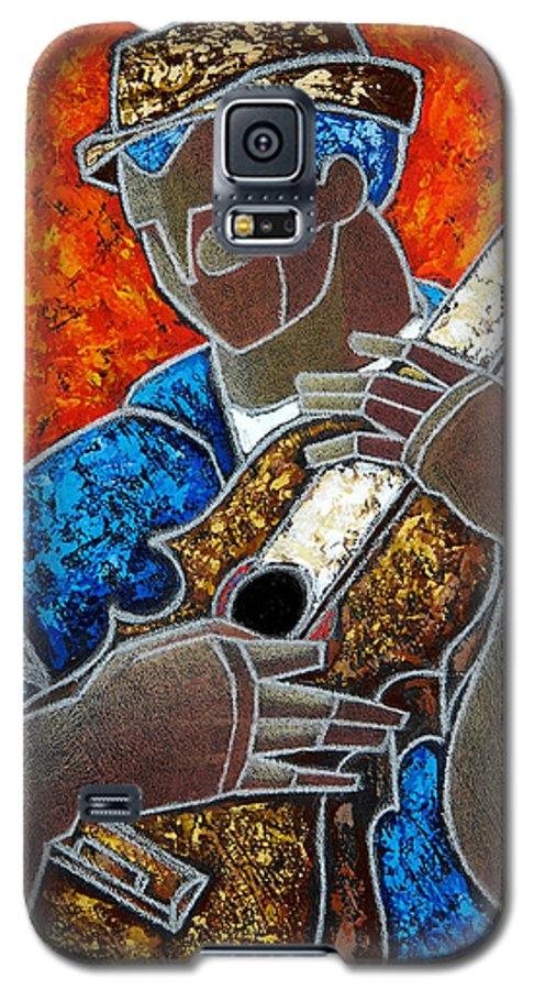 Puerto Rico Galaxy S5 Case featuring the painting Solo De Cuatro by Oscar Ortiz