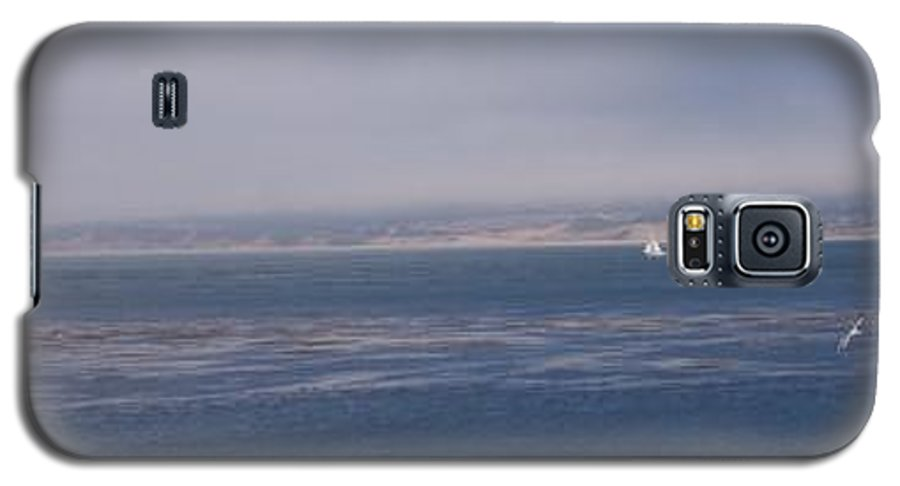 Sailing Outdoors Sail Ocean Monterey Bay Sea Seascape Boat Shoreline Sky Pacific Nature California Galaxy S5 Case featuring the photograph Solo Sail In Monterey Bay by Pharris Art
