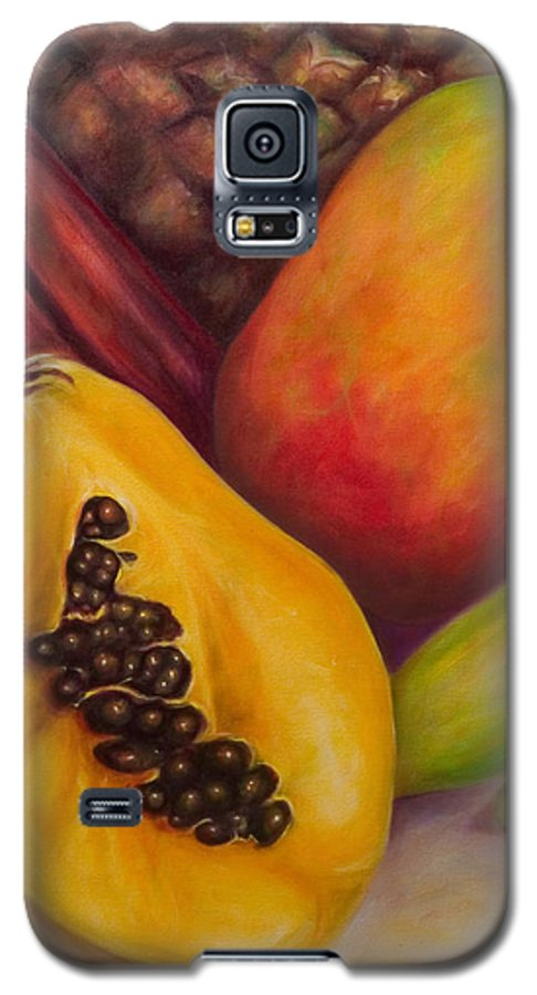 Tropical Fruit Still Life: Mangoes Galaxy S5 Case featuring the painting Solo by Shannon Grissom