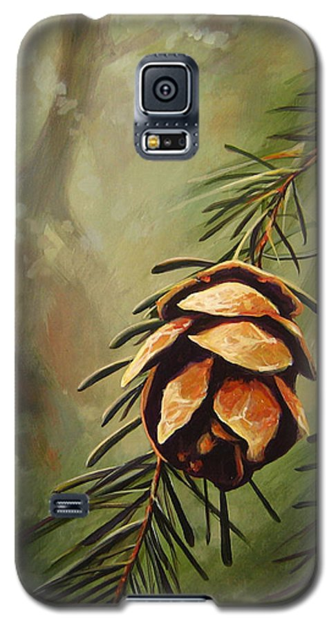 Closeup Of Spruce Cone Galaxy S5 Case featuring the painting Solstice by Hunter Jay