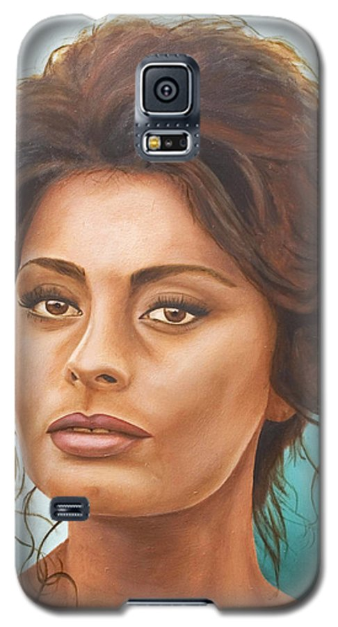Moviestar Galaxy S5 Case featuring the painting Sophia Loren by Rob De Vries