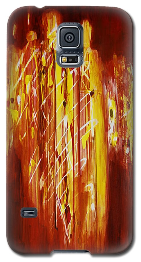 Abstract Galaxy S5 Case featuring the painting Soul Train by Tara Moorman