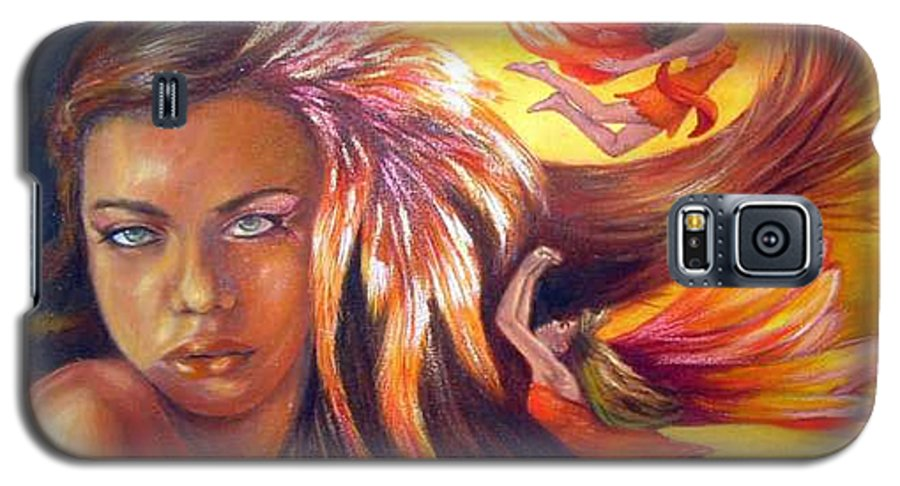 Galaxy S5 Case featuring the painting Soulfire by Anne Kushnick