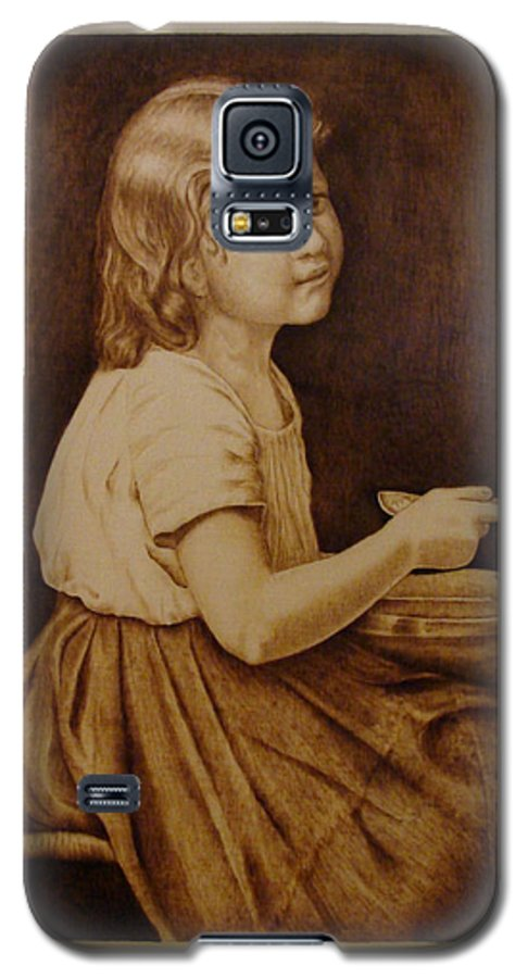 Portrait; Soup; Stool; Spoon; Sepia; Skirt; Galaxy S5 Case featuring the pyrography Soup by Jo Schwartz