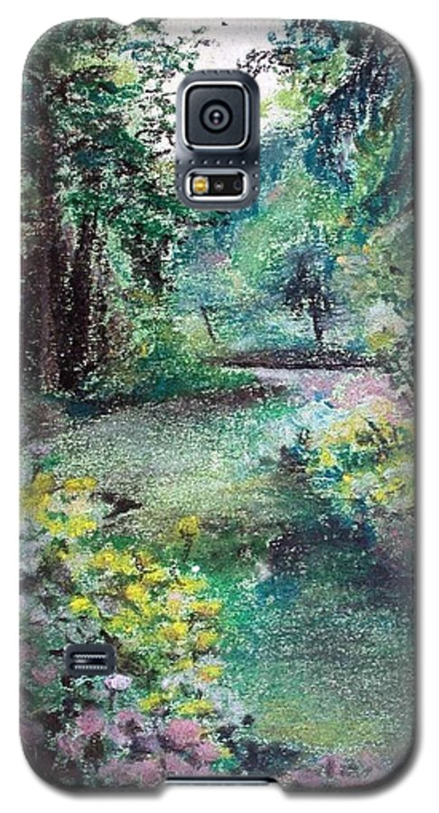 Landscape Galaxy S5 Case featuring the drawing Sous-bois by Muriel Dolemieux