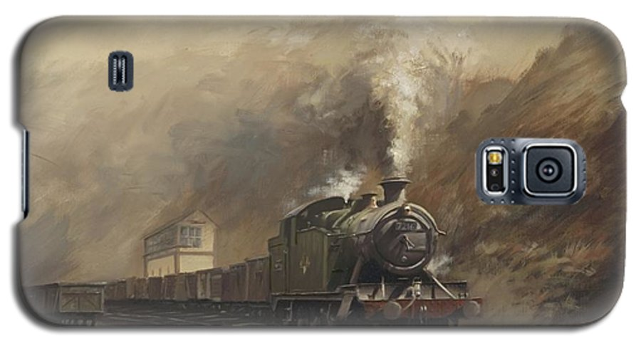 Steam Galaxy S5 Case featuring the painting South Wales Coal Train by Richard Picton