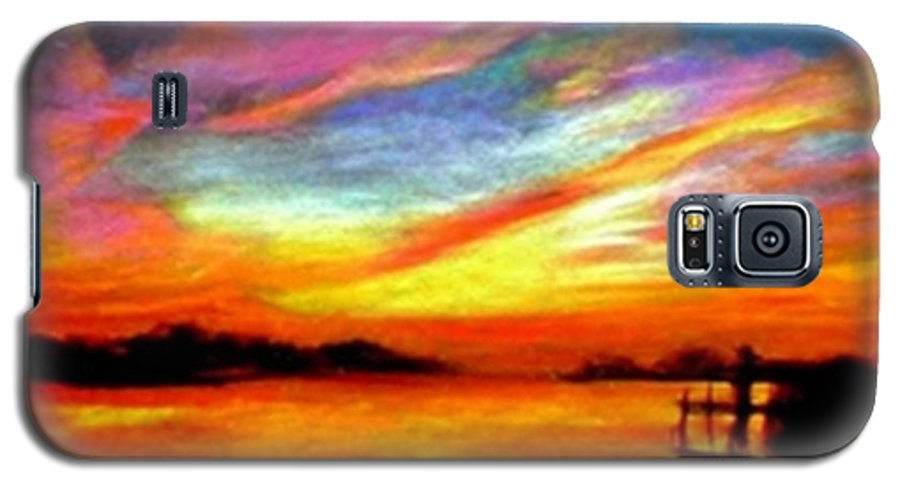 Sunset Galaxy S5 Case featuring the painting Southern Sunset by Gail Kirtz