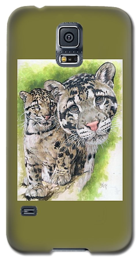 Clouded Leopard Galaxy S5 Case featuring the mixed media Sovereignty by Barbara Keith