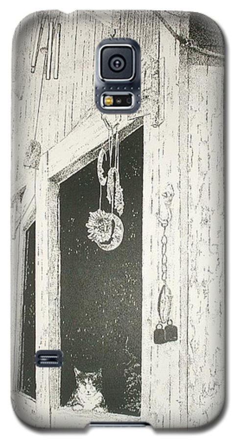 Cats  Kitten  Animals  Barn Landscape Pets Pen&ink Pointillism Galaxy S5 Case featuring the painting Sox S Watch     by Tony Ruggiero
