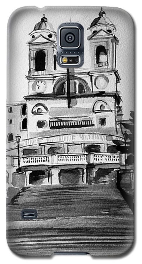 Ink Galaxy S5 Case featuring the painting Spanish Steps by Laura Rispoli