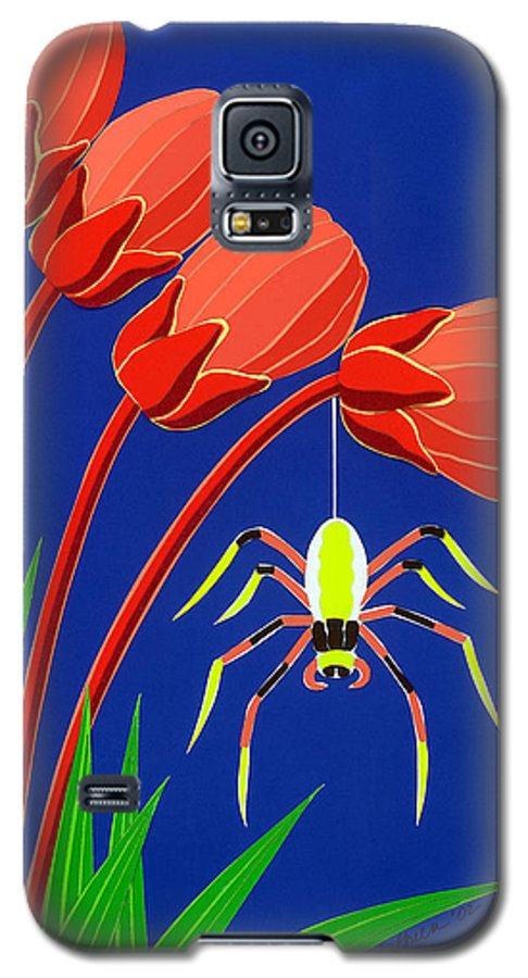 Nature Galaxy S5 Case featuring the drawing Spider by Lucyna A M Green