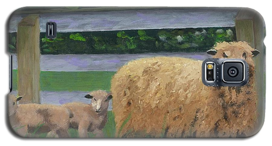 Sheep Lambs Countryside Farm Spring Galaxy S5 Case featuring the painting Sping Lambs by Paula Emery