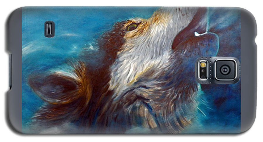 Wolf Galaxy S5 Case featuring the painting Spirit Of The Wolf by Brian Commerford