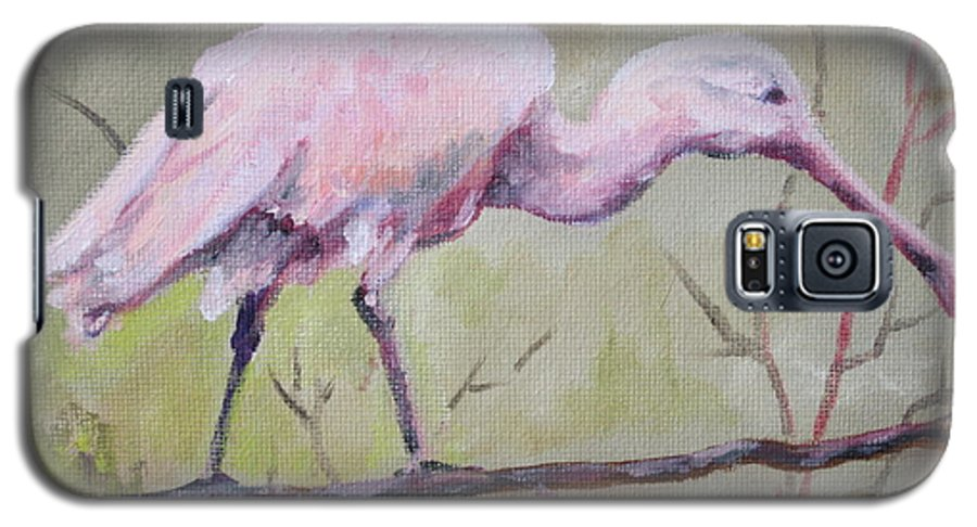Bird Galaxy S5 Case featuring the painting Spoonbill by Carol Mueller