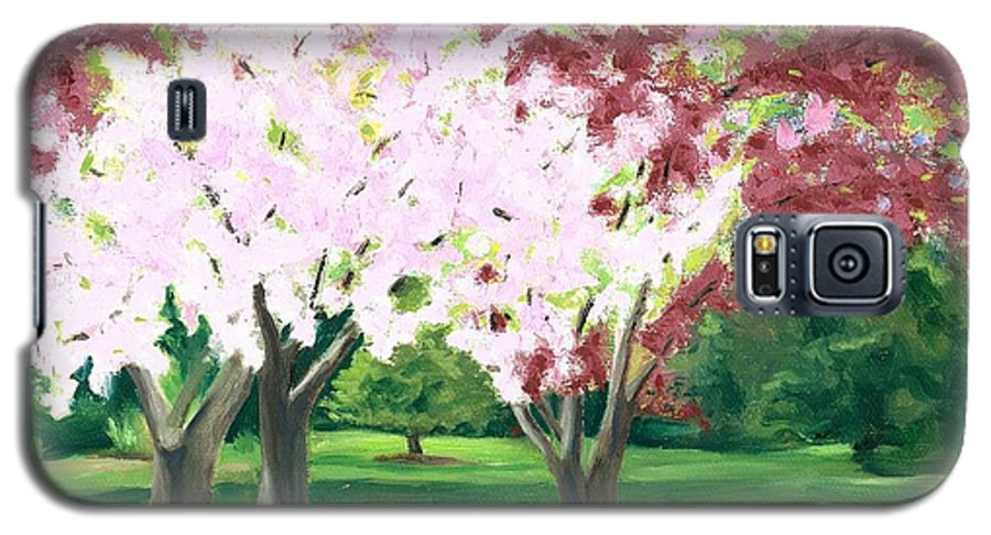 Spring Galaxy S5 Case featuring the painting Spring At Osage Land Trust by Paula Emery