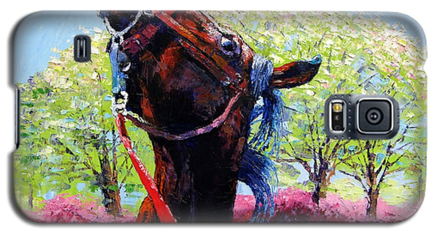 Horse Galaxy S5 Case featuring the painting Spring Fever by John Lautermilch