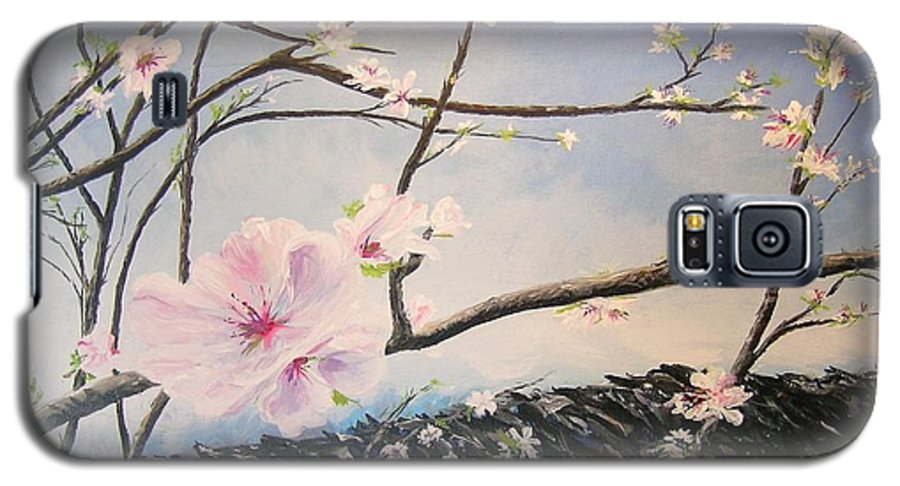 Flower Galaxy S5 Case featuring the painting Spring Is In The Air by Lizzy Forrester