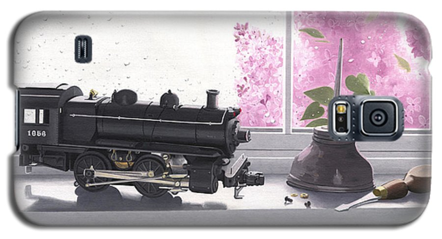 Lionel Galaxy S5 Case featuring the painting Spring Rain Electric Train by Gary Giacomelli