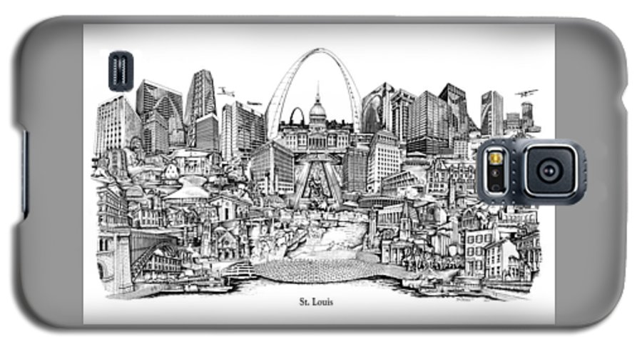 City Drawing Galaxy S5 Case featuring the drawing St. Louis 4 by Dennis Bivens