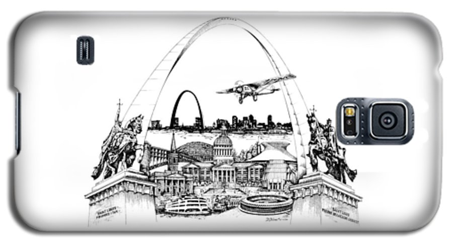 City Drawing Galaxy S5 Case featuring the drawing St. Louis Highlights Version 1 by Dennis Bivens