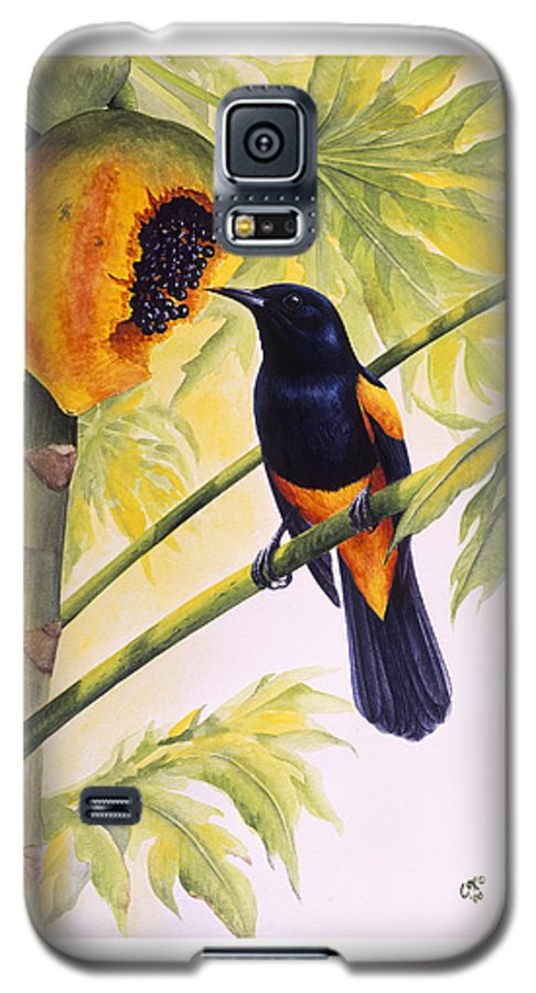 Chris Cox Galaxy S5 Case featuring the painting St. Lucia Oriole And Papaya by Christopher Cox