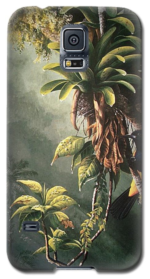 Chris Cox Galaxy S5 Case featuring the painting St. Lucia Oriole In Bromeliads by Christopher Cox