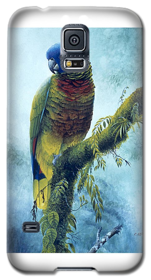 Chris Cox Galaxy S5 Case featuring the painting St. Lucia Parrot - Majestic by Christopher Cox
