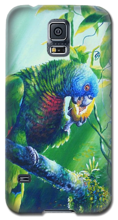 Chris Cox Galaxy S5 Case featuring the painting St. Lucia Parrot And Wild Passionfruit by Christopher Cox
