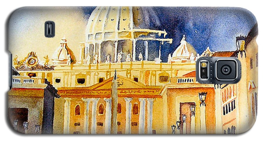 Vatican Galaxy S5 Case featuring the painting St. Peters Basilica by Karen Stark