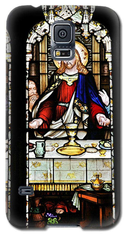Stained Galaxy S5 Case featuring the photograph Stained Glass Window Last Supper Saint Giles Cathedral Edinburgh Scotland by Christine Till