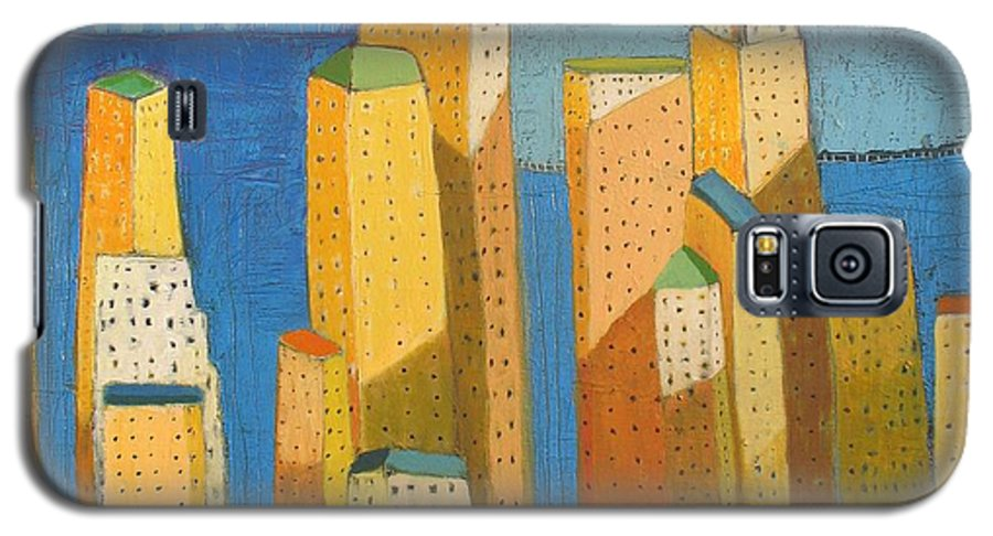 Abstract Cityscape Galaxy S5 Case featuring the painting Standing High by Habib Ayat