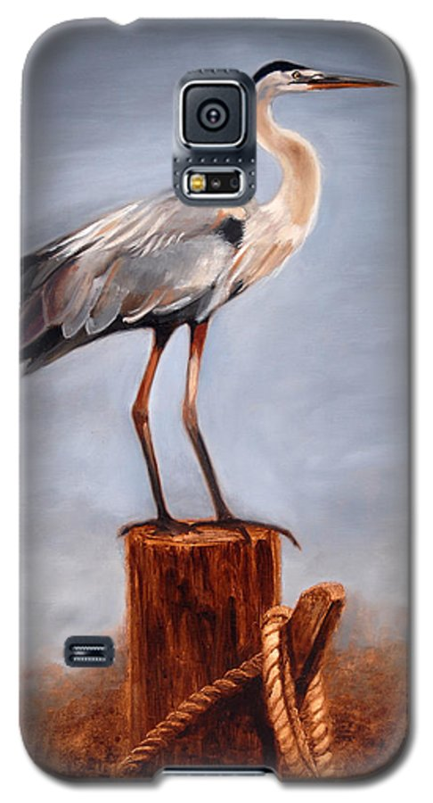 Heron Galaxy S5 Case featuring the painting Standing Watch by Greg Neal